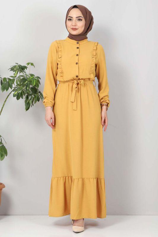 Önü Fırfırlı Ayrobin Elbise TSD11011 Hardal