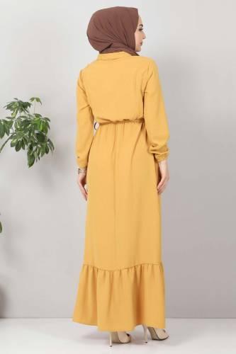 Önü Fırfırlı Ayrobin Elbise TSD11011 Hardal - Thumbnail
