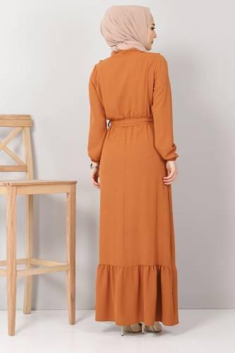 Önü Fırfırlı Ayrobin Elbise TSD11011 Kiremit - Thumbnail