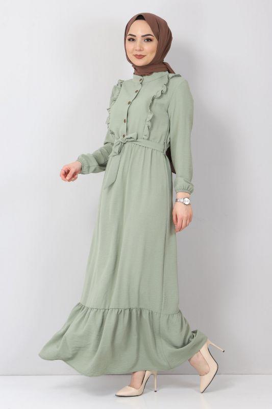 Önü Fırfırlı Ayrobin Elbise TSD11011 Mint