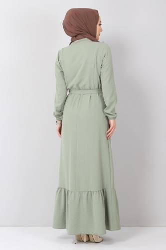Önü Fırfırlı Ayrobin Elbise TSD11011 Mint - Thumbnail