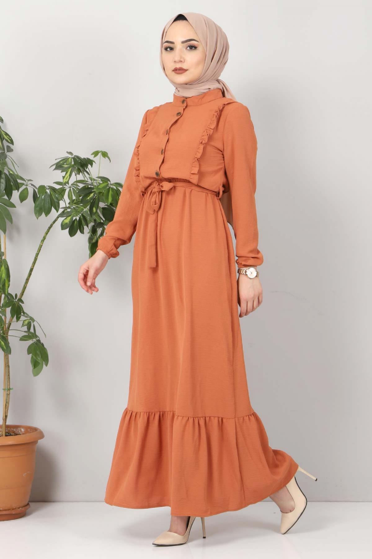 Önü Fırfırlı Ayrobin Elbise TSD11011 Somon