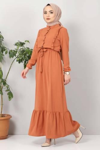 Önü Fırfırlı Ayrobin Elbise TSD11011 Somon - Thumbnail
