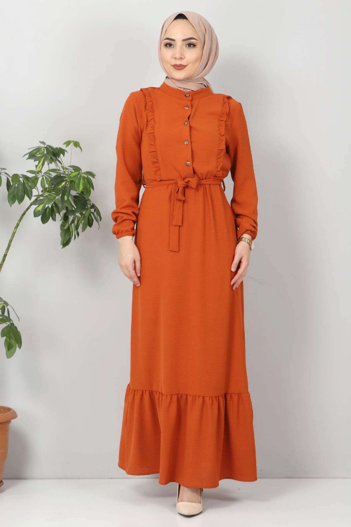 Önü Fırfırlı Ayrobin Elbise TSD11011 Turuncu