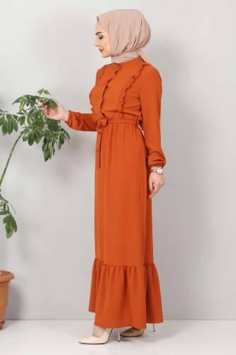 Önü Fırfırlı Ayrobin Elbise TSD11011 Turuncu - Thumbnail