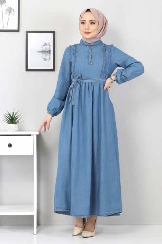 Tesettür Dünyası - Önü Fırfırlı Kot Elbise TSD6267 Açık Mavi