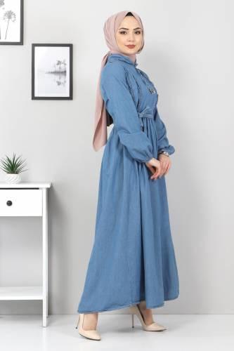 Tesettür Dünyası - Önü Fırfırlı Kot Elbise TSD6267 Açık Mavi (1)