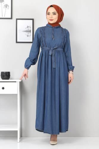 Tesettür Dünyası - Önü Fırfırlı Kot Elbise TSD6267 Koyu Mavi