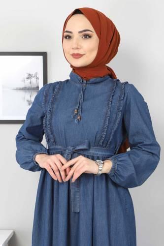 Tesettür Dünyası - Önü Fırfırlı Kot Elbise TSD6267 Koyu Mavi (1)