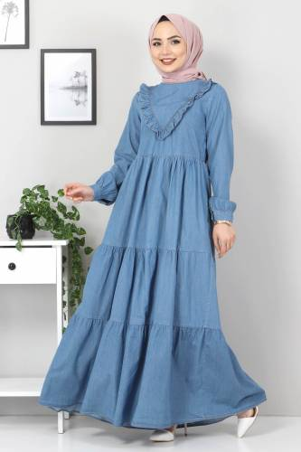 Tesettür Dünyası - Önü Fırfırlı Kot Elbise TSD7121 Açık Mavi