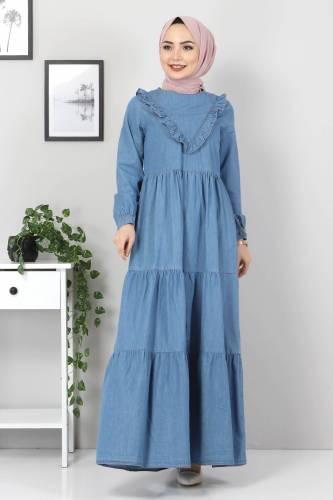 Tesettür Dünyası - Önü Fırfırlı Kot Elbise TSD7121 Açık Mavi (1)