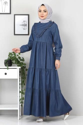 Tesettür Dünyası - Önü Fırfırlı Kot Elbise TSD7121 Koyu Mavi