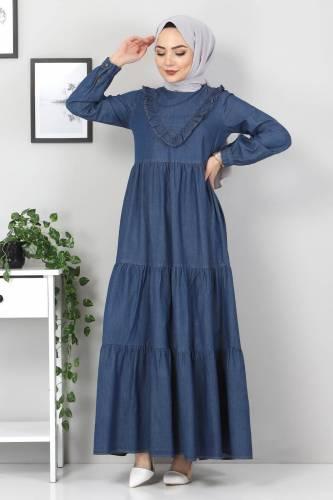 Tesettür Dünyası - Önü Fırfırlı Kot Elbise TSD7121 Koyu Mavi (1)