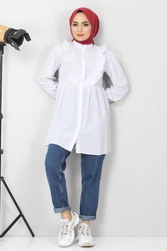 Tesettür Dünyası - Önü Fırfırlı Tunik TSD1000 Beyaz