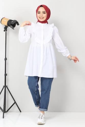 Tesettür Dünyası - Önü Fırfırlı Tunik TSD1000 Beyaz (1)