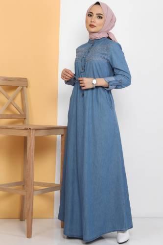 Önü Güpürlü Kot Elbise TSD0459 Açık Mavi - Thumbnail