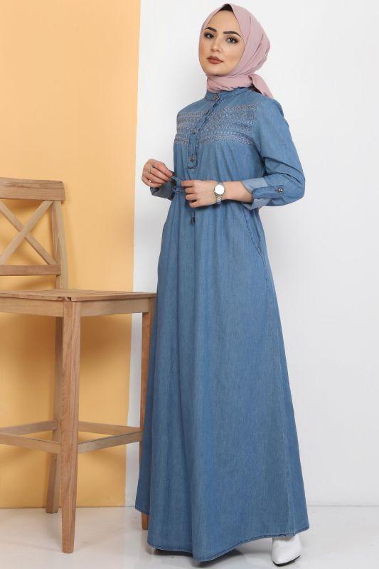 Önü Güpürlü Kot Elbise TSD0459 Açık Mavi