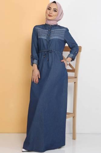 Önü Güpürlü Kot Elbise TSD0459 Koyu Mavi - Thumbnail
