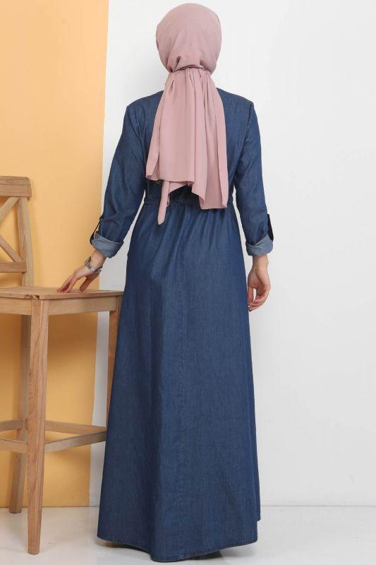 Önü Güpürlü Kot Elbise TSD0459 Koyu Mavi