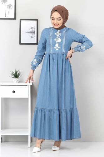 Tesettür Dünyası - Önü Nakışlı Eteği Pileli Elbise TSD6152 Açık Mavi