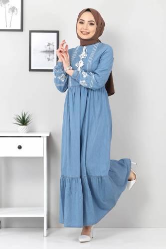 Tesettür Dünyası - Önü Nakışlı Eteği Pileli Elbise TSD6152 Açık Mavi (1)
