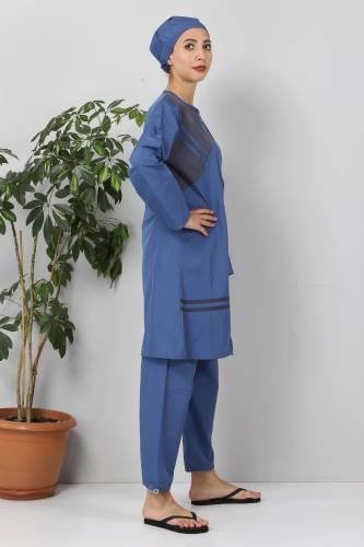 Önü Şeritli Tesettür Mayo TSD8813 Mavi - Füme - Thumbnail
