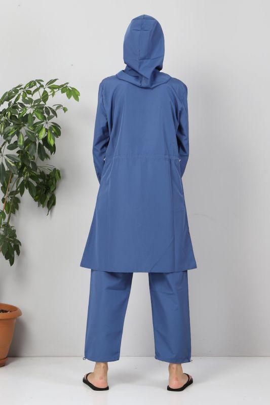 Önü Şeritli Tesettür Mayo TSD8813 Mavi - Füme
