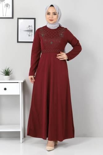 Tesettür Dünyası - Önü Taşlı Elbise TSD5101 Bordo