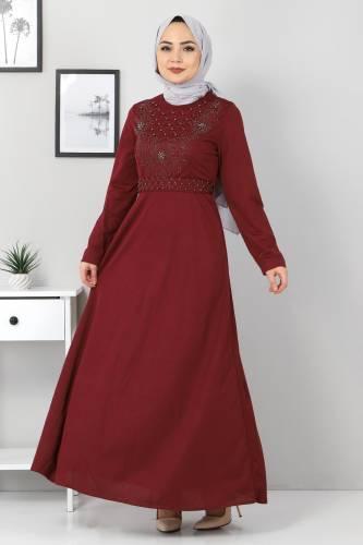 Tesettür Dünyası - Önü Taşlı Elbise TSD5101 Bordo (1)