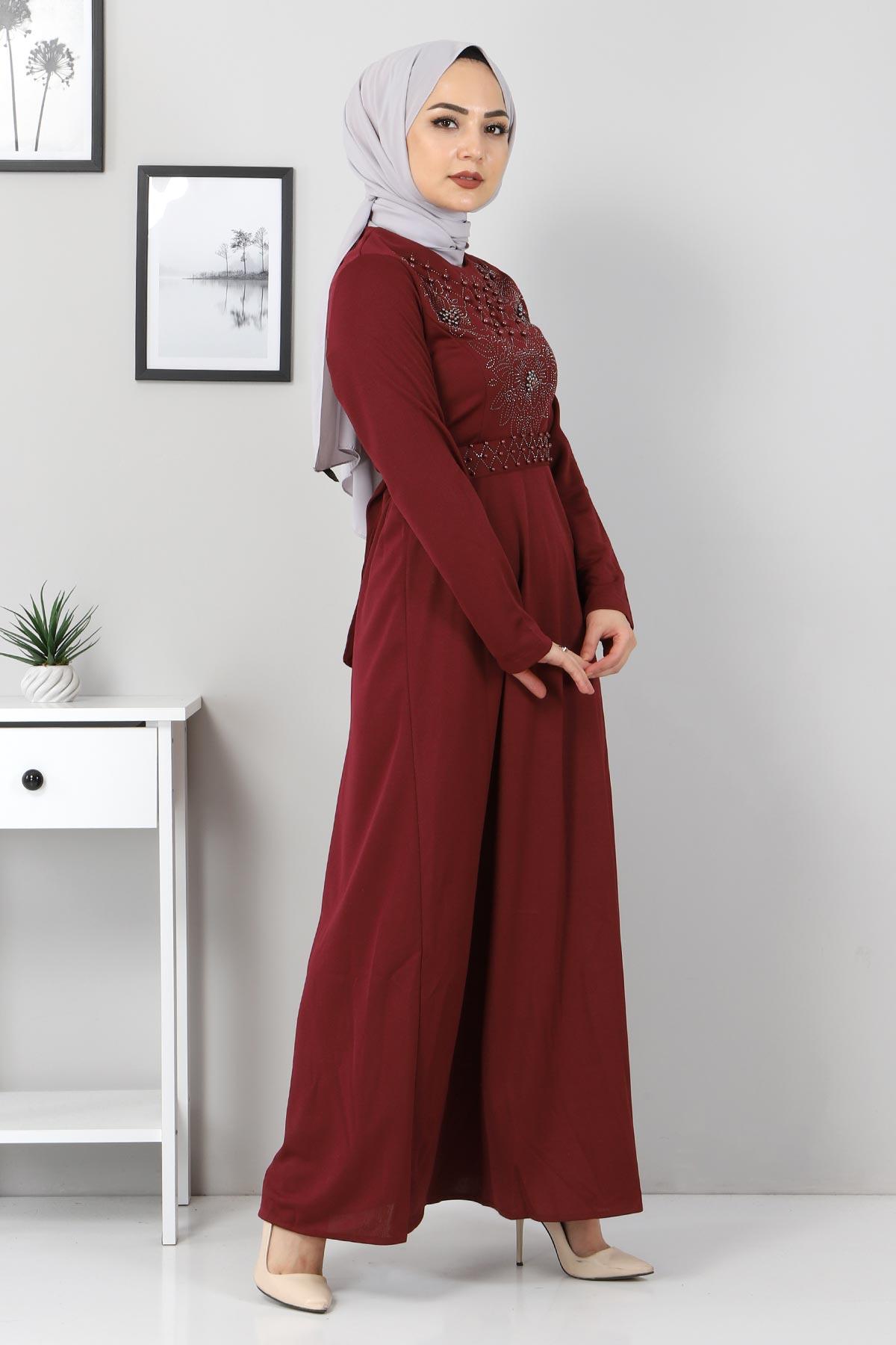 Önü Taşlı Elbise TSD5101 Bordo