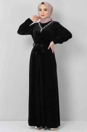 Tesettür Dünyası - Önü Taşlı Kadife Elbise TSD2462 Siyah