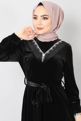 Tesettür Dünyası - Önü Taşlı Kadife Elbise TSD2462 Siyah (1)