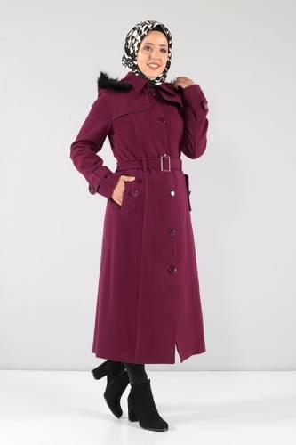 Tesettür Dünyası - Önü ve Cebi Kapaklı Kaşe Palto MVC841 Şarabi