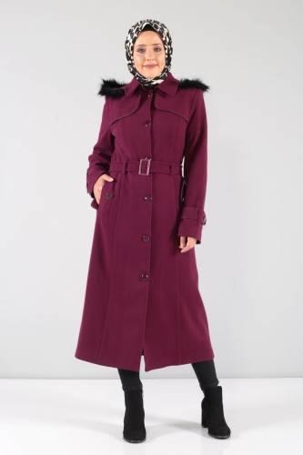 Tesettür Dünyası - Önü ve Cebi Kapaklı Kaşe Palto MVC841 Şarabi (1)