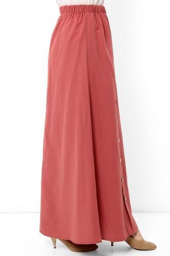 Ornamental Buttoned Hijab Skirt TSD0124 Coral - Thumbnail