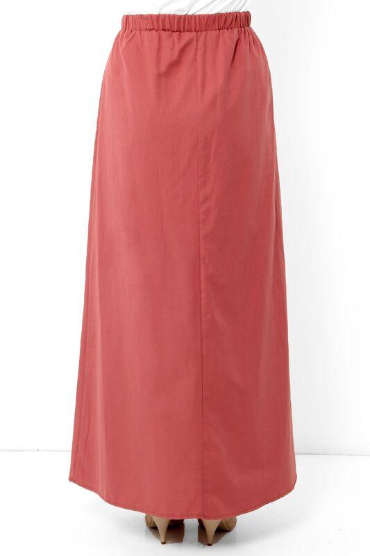 Ornamental Buttoned Hijab Skirt TSD0124 Coral