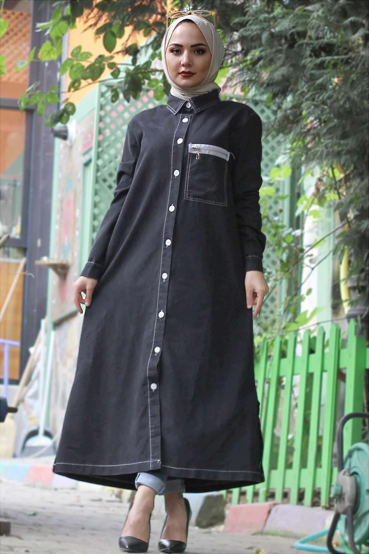 Ornamental Pocket Jeans Cape TSD4135 Black