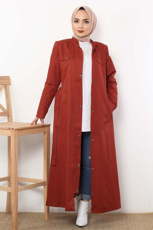 Ornamental Pocket Trench Coat TSD2245 Tile