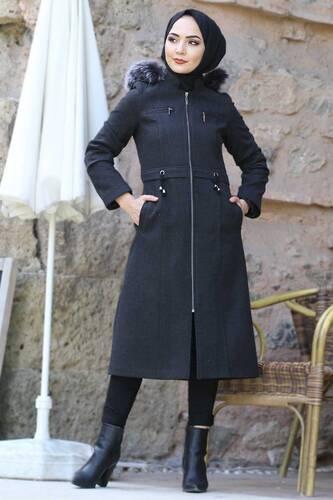 Tesettür Dünyası - Ornamental Zippered Cachet Coat TSD9911 Dark Gray