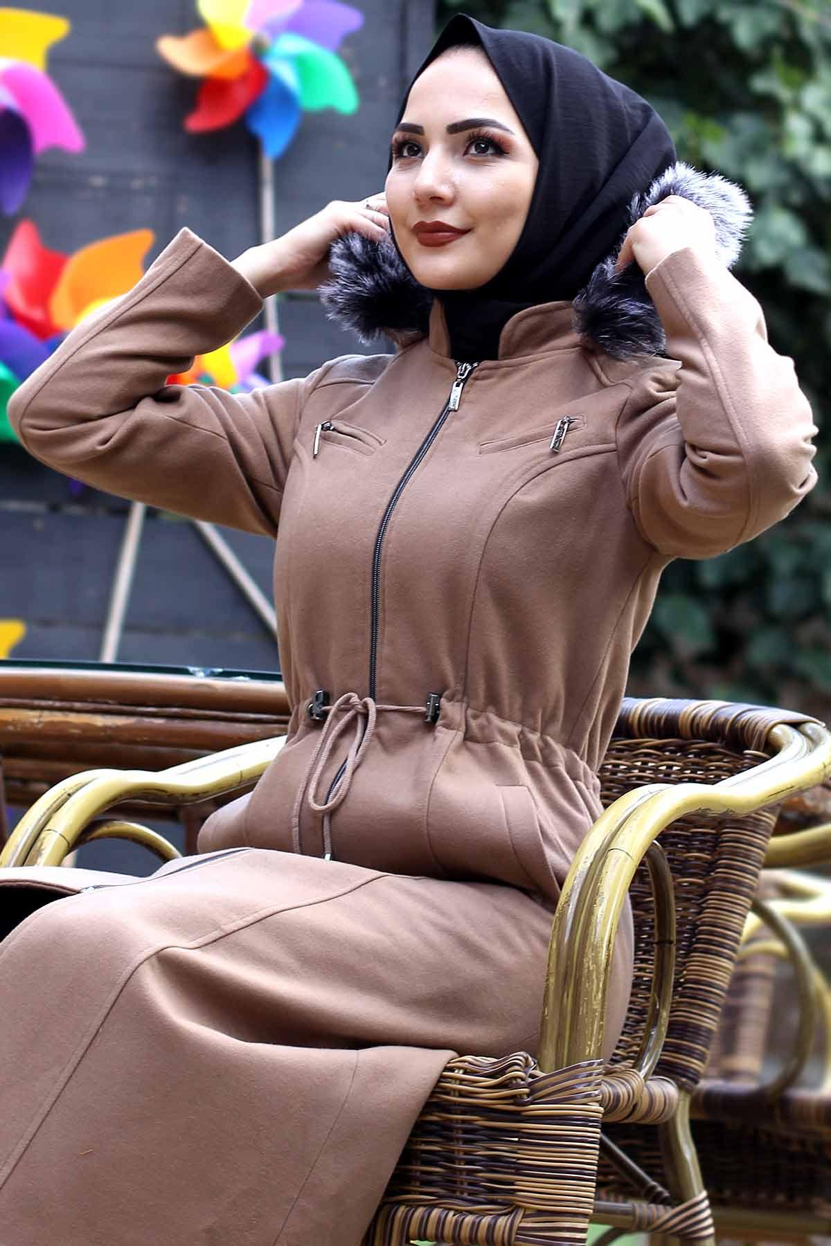 Ornamental Zippered Cachet Coat TSD9923 Camel
