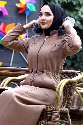 Ornamental Zippered Cachet Coat TSD9923 Camel - Thumbnail
