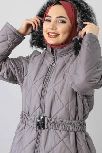 Tesettür Dünyası - Oversized fur lined coat TSD1485 Gray (1)