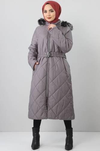 Tesettür Dünyası - Oversized fur lined coat TSD1485 Gray