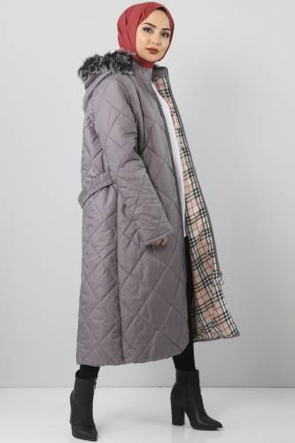 Oversized fur lined coat TSD1485 Gray - Thumbnail