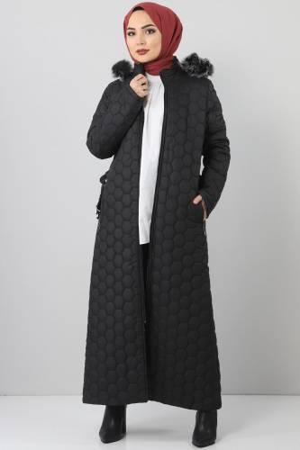 Tesettür Dünyası - Oversized quilted coat TSD1877 black