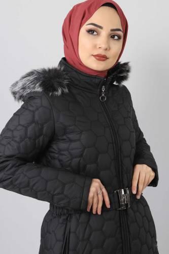 Tesettür Dünyası - Oversized quilted coat TSD1877 black (1)