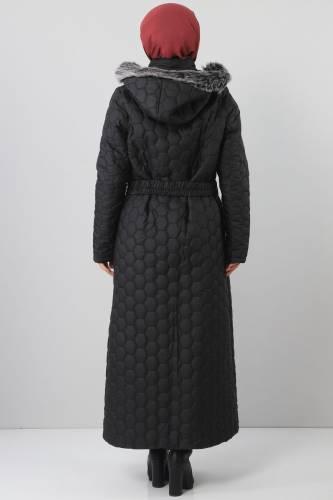 Oversized quilted coat TSD1877 black - Thumbnail