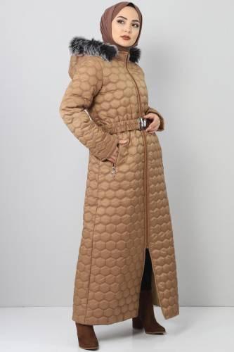 Tesettür Dünyası - Oversized quilted coat TSD1877 brown