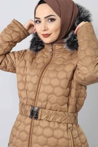 Tesettür Dünyası - Oversized quilted coat TSD1877 brown (1)