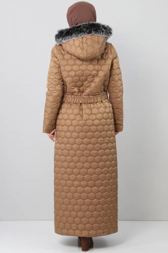 Oversized quilted coat TSD1877 brown - Thumbnail